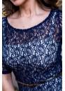 Платье коктейльное кружевное синее