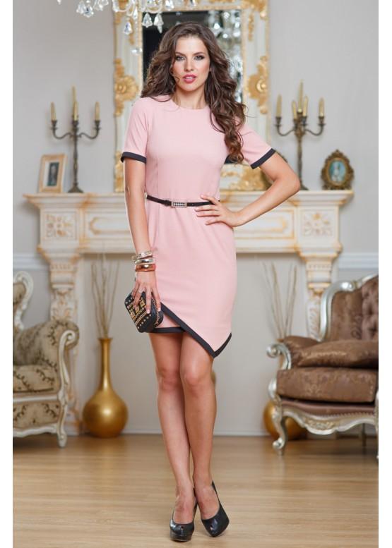 Платье укороченное нежно розовое