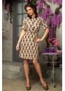 Платье-рубашка с ярким принтом бежевое