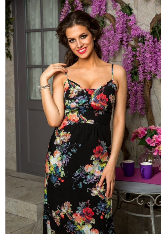 24757984414 Купить платье летнее длинное с цветочным принтом черное в Москве ...