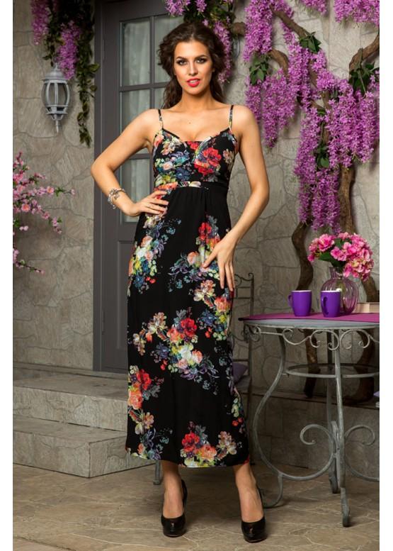 Платье летнее длинное с цветочным принтом черное