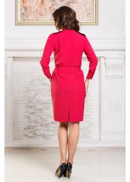 Платье-рубашка с поясом цвета фуксии