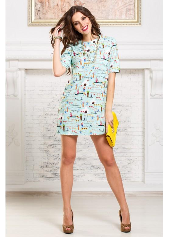 Платье летнее короткое свободного кроя мятное