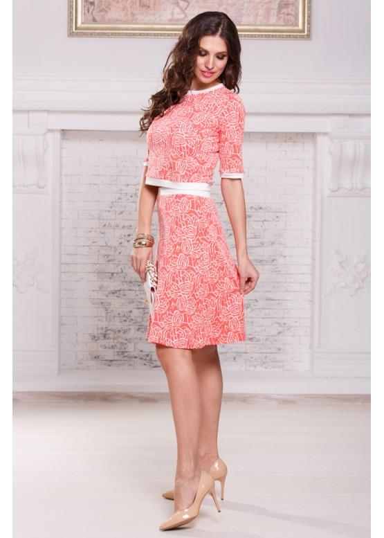 Платье летнее розовое с расклешенной юбкой
