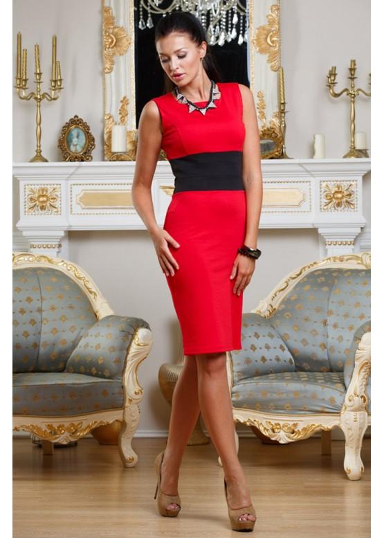 Платье-футляр красное с черным
