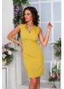Платье классическое с завышенной талией оливкового цвета