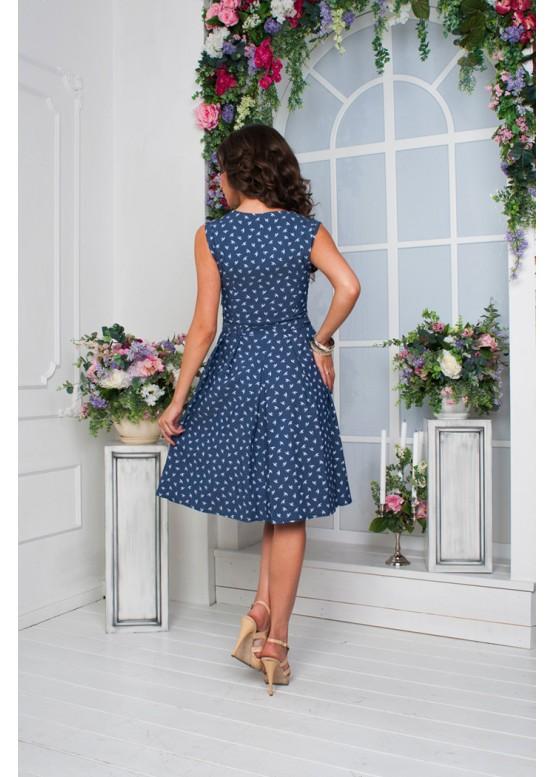 Платье джинсовое летнее с пышной юбкой