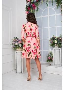 Платье нежно розовое с цветочным принтом