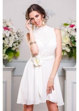 Платье вечернее шифоновое с кружевным верхом