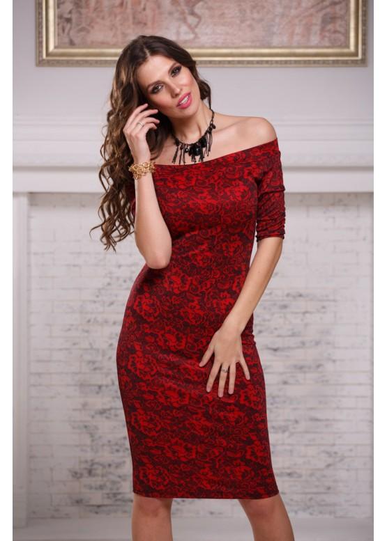 Платье приталенное красное с открытыми плечами