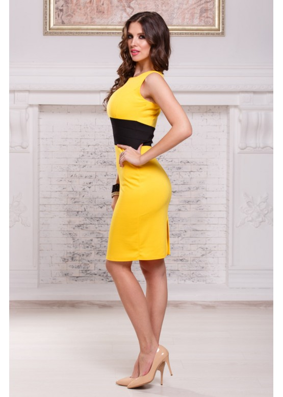 Платье-футляр приталенное желтое с черным