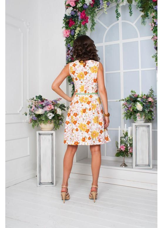 Платье летнее льняное с пышной юбкой
