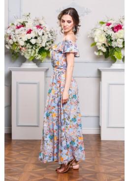 Платье-сарафан  голубое со спущенными плечами