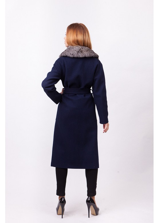 Пальто зимнее Агата с мехом серого кролика