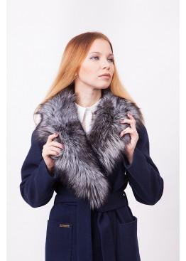 Пальто зимнее Агата с мехом чернобурой лисицы