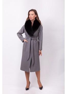 Пальто зимнее Агата с мехом черного песца