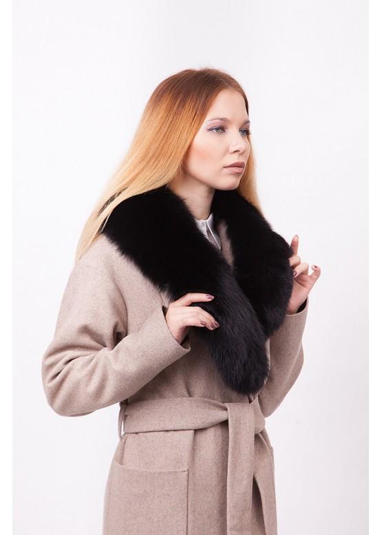 Пальто зимнее Агата с мехом коричневого песца