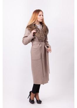 Пальто зимнее Агата с мехом натурально енота