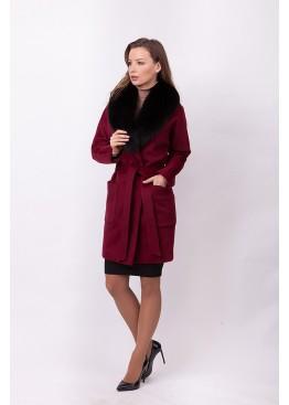 Пальто зимнее Бренда с мехом черного песца
