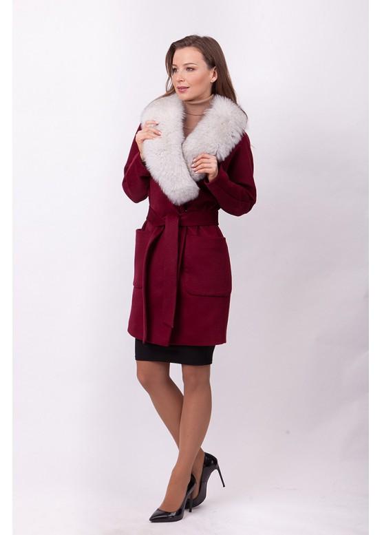 Пальто зимнее Бренда с мехом белого песца
