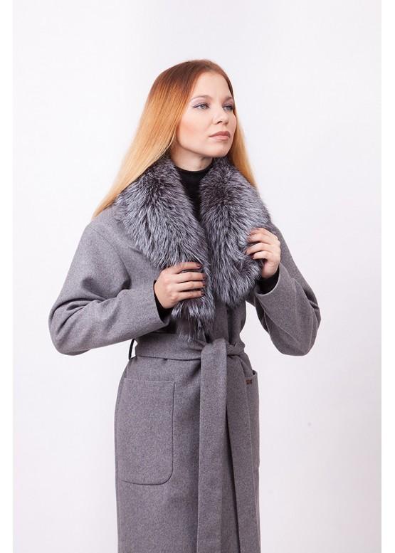 Пальто зимнее Бриджит с мехом чернобурой лисицы