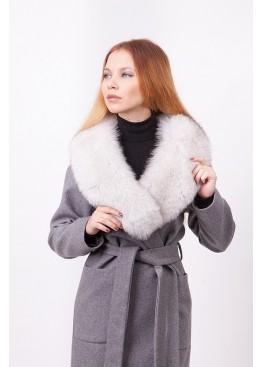 Пальто зимнее Бриджит с мехом белого песца