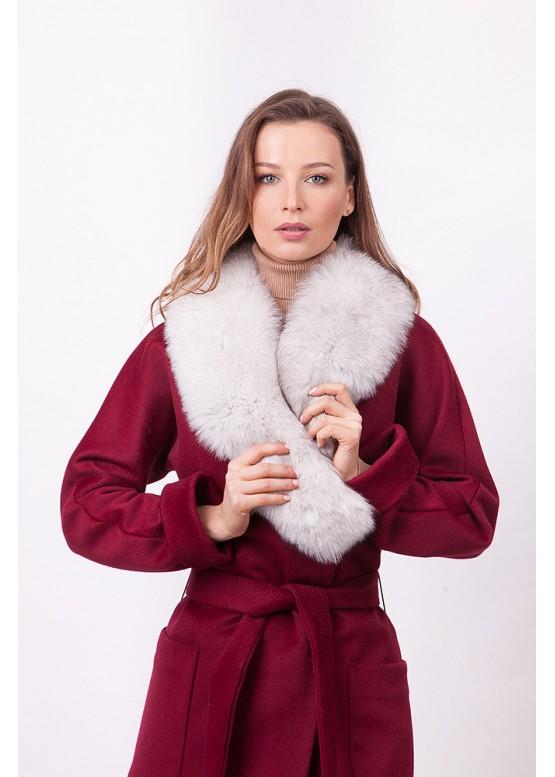 Пальто зимнее Габриэль с мехом белого песца
