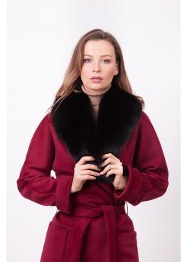 Пальто зимнее Габриэль с мехом черного песца