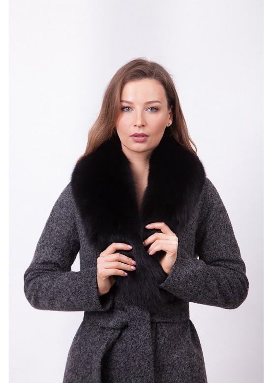 Пальто зимнее Женева с мехом черного песца