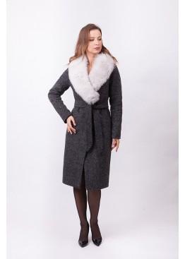 Пальто зимнее Женева с мехом белого песца