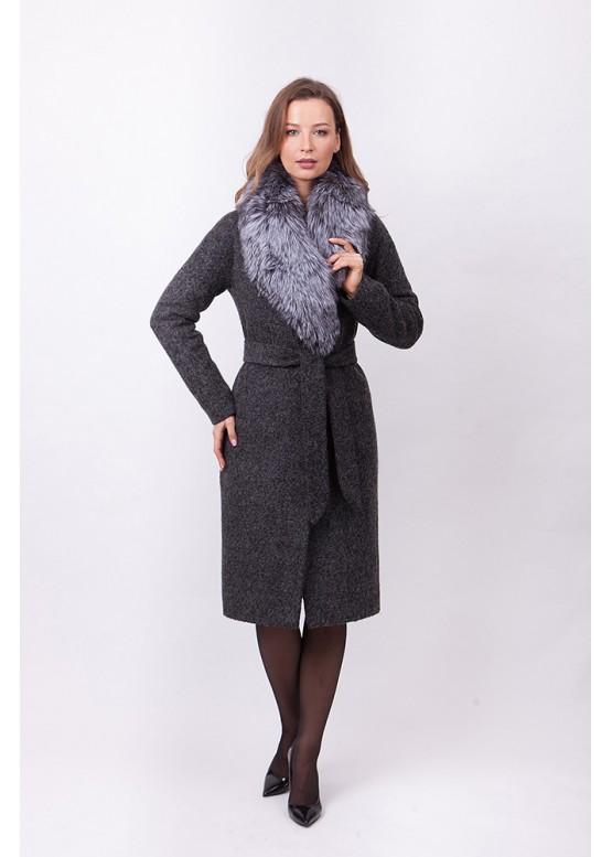 Пальто зимнее Женева с мехом черобурой лисицы