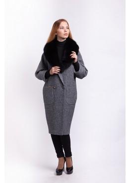 Пальто зимнее женское Кэрри с мехом черного песца