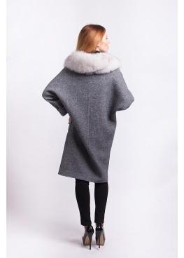 Пальто зимнее женское Кэрри с мехом белого песца