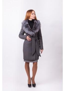 Пальто зимнее Кэтрин с мехом чернобурой лисицы