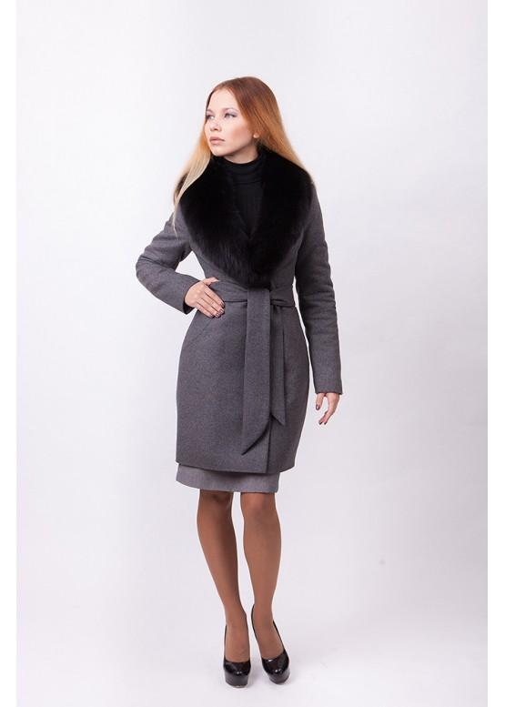 Пальто зимнее Кэтрин с мехом черного песца