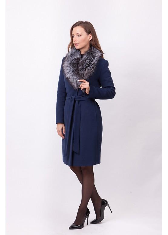 Пальто зимнее Классик 2018 с мехом чернобурой лисицы