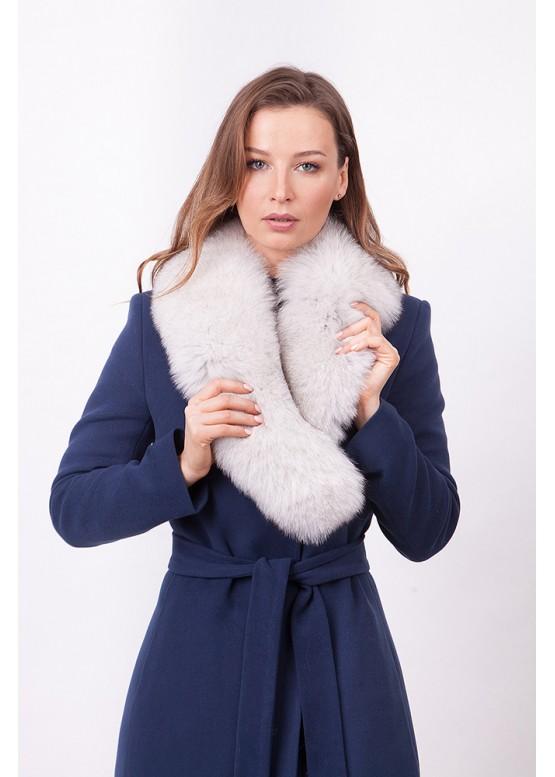 Пальто зимнее Классик 2018 с мехом белого песца