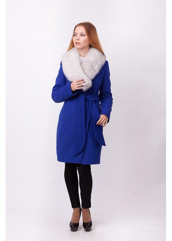 Пальто зимнее Классик с мехом белого песца