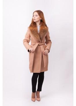Пальто зимнее Классик с мехом натуральный енот