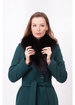 Пальто зимнее Классик с мехом черного песца