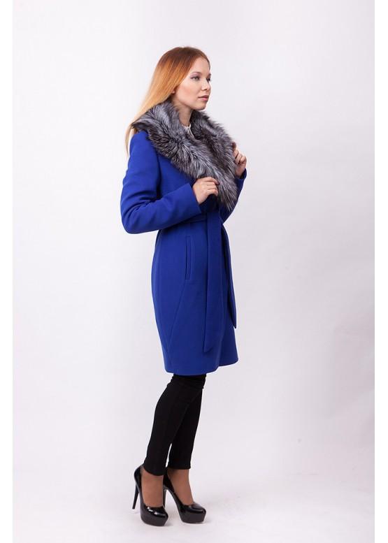 Пальто зимнее Классик с мехом чернобурой лисицы