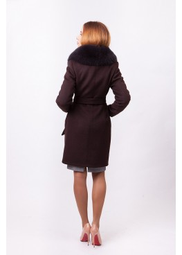 Пальто зимнее Понтик с мехом коричневого песца