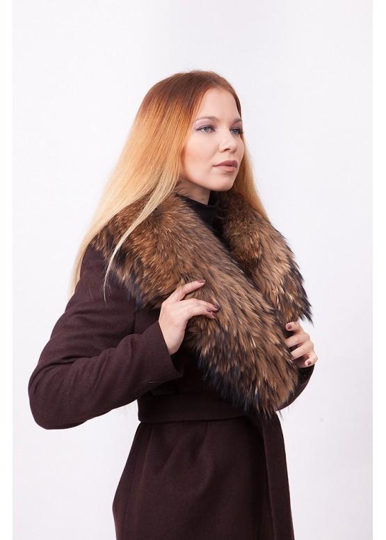 Пальто зимнее Понтик с мехом натурального енота