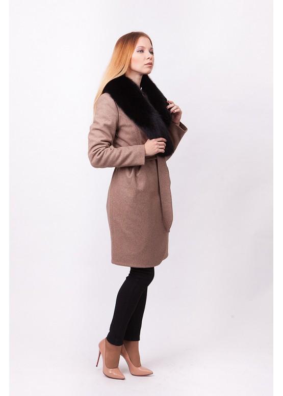 Пальто зимнее Понтик с мехом черного песца