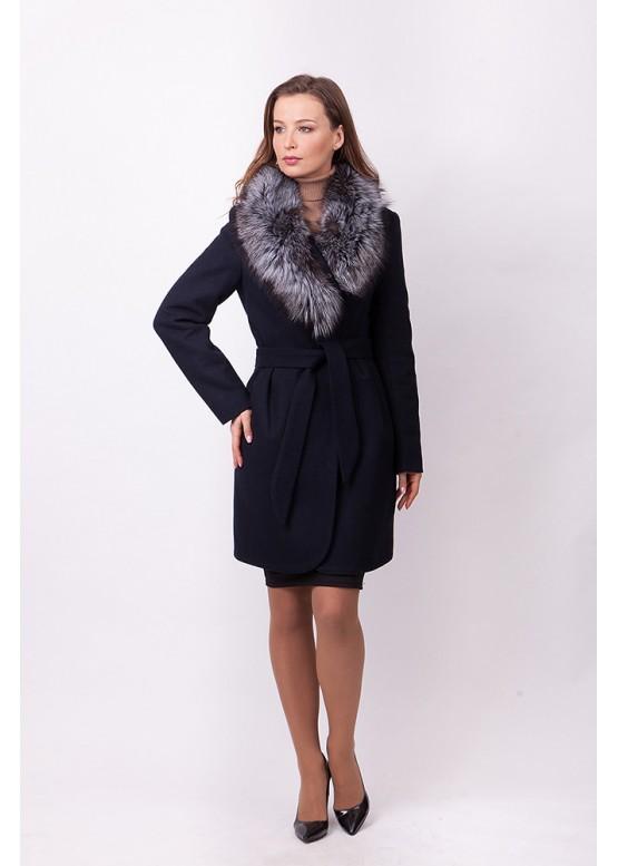 Пальто зимнее Понтик с мехом чернобурой лисицы