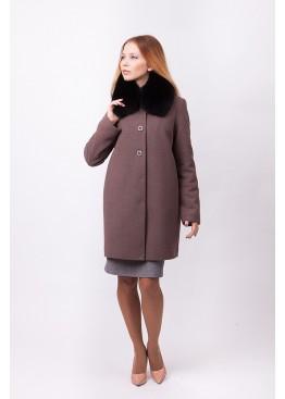 Пальто зимнее Терри с мехом черного песца