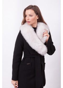 Пальто зимнее Винруж с мехом белого песца