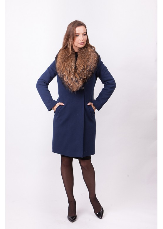 Пальто зимнее Винруж-2017 с мехом натурального енота