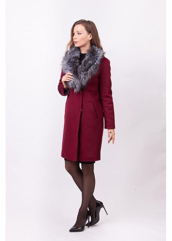 Пальто зимнее Винруж-2017 с мехом чернобурой лисицы