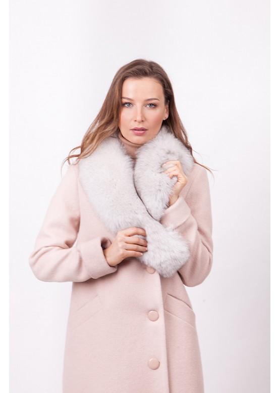 Пальто зимнее Винруж-2017 с мехом белого песца